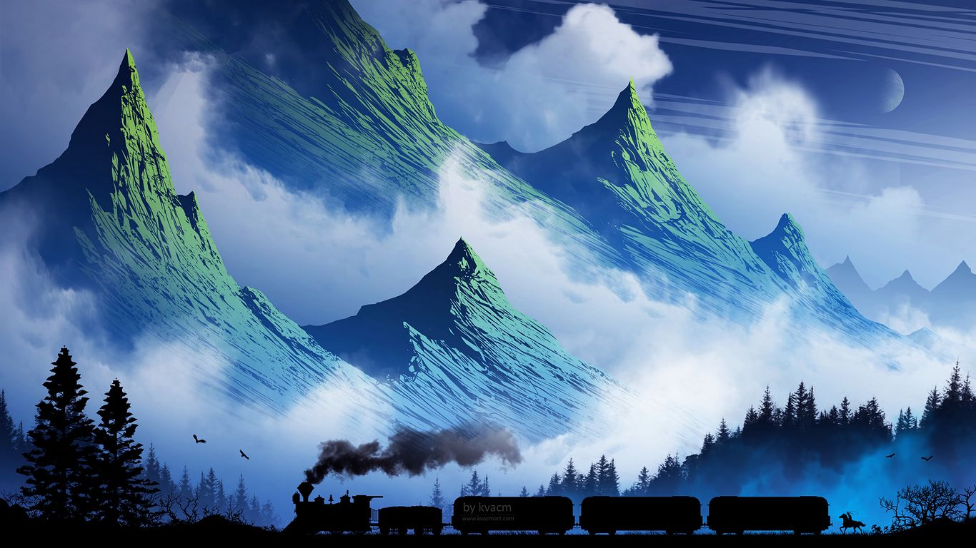 1366x768 Wallpaper train, mountains, art, fog, smoke