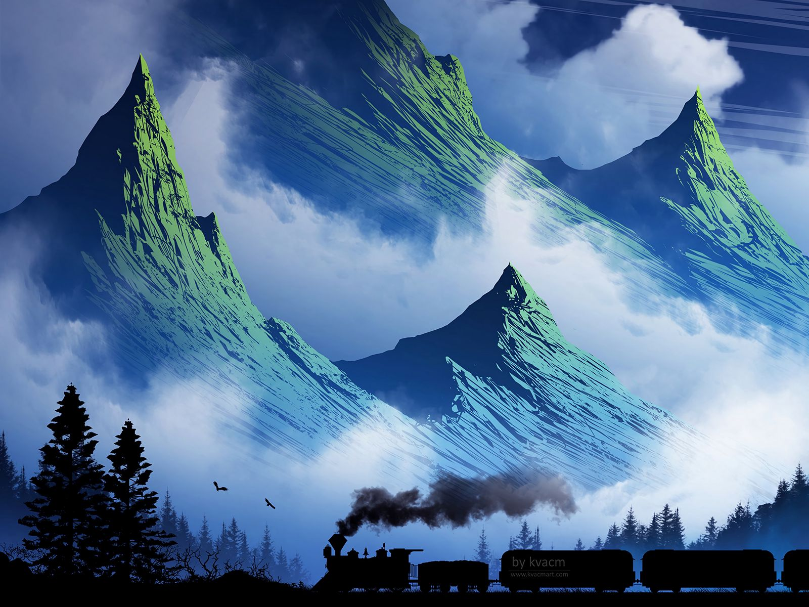 1600x1200 Wallpaper train, mountains, art, fog, smoke