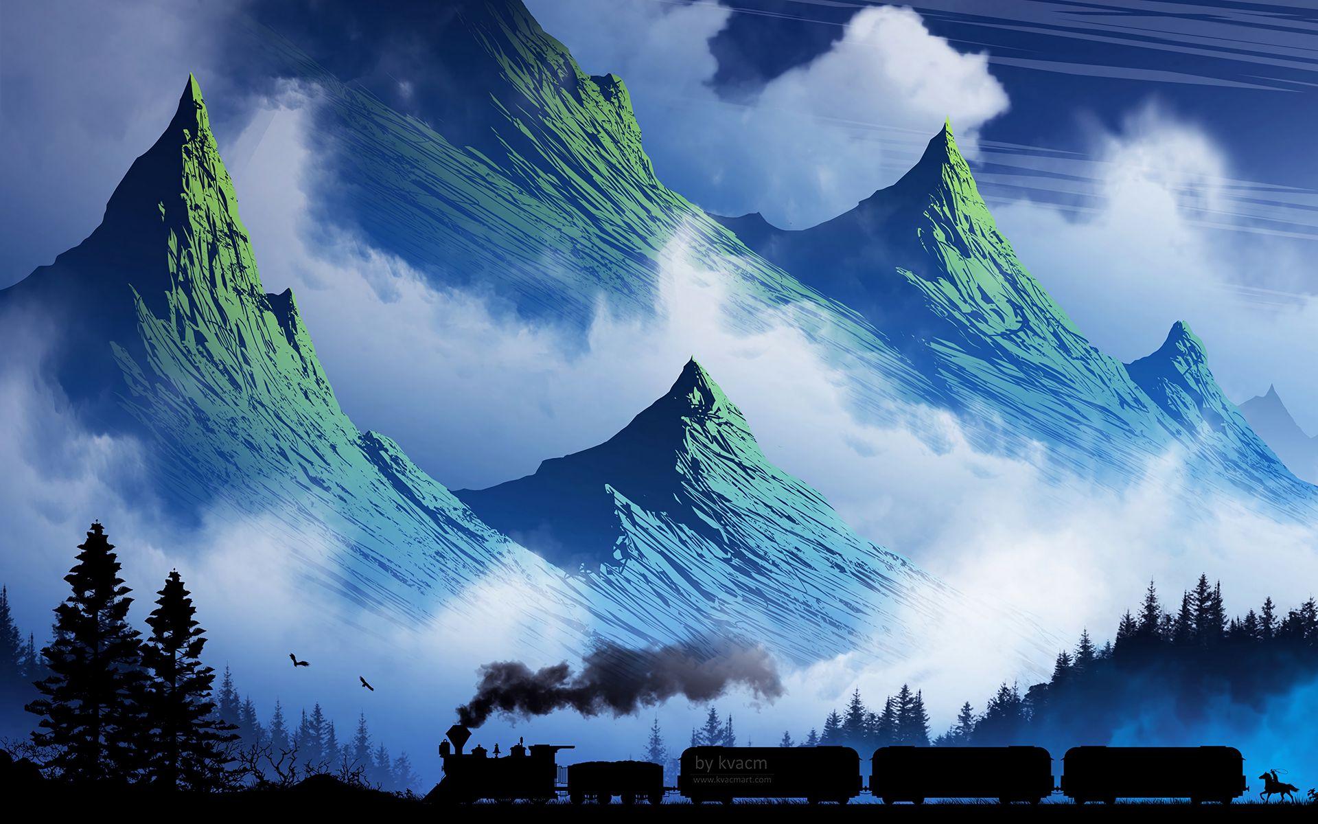 1920x1200 Wallpaper train, mountains, art, fog, smoke