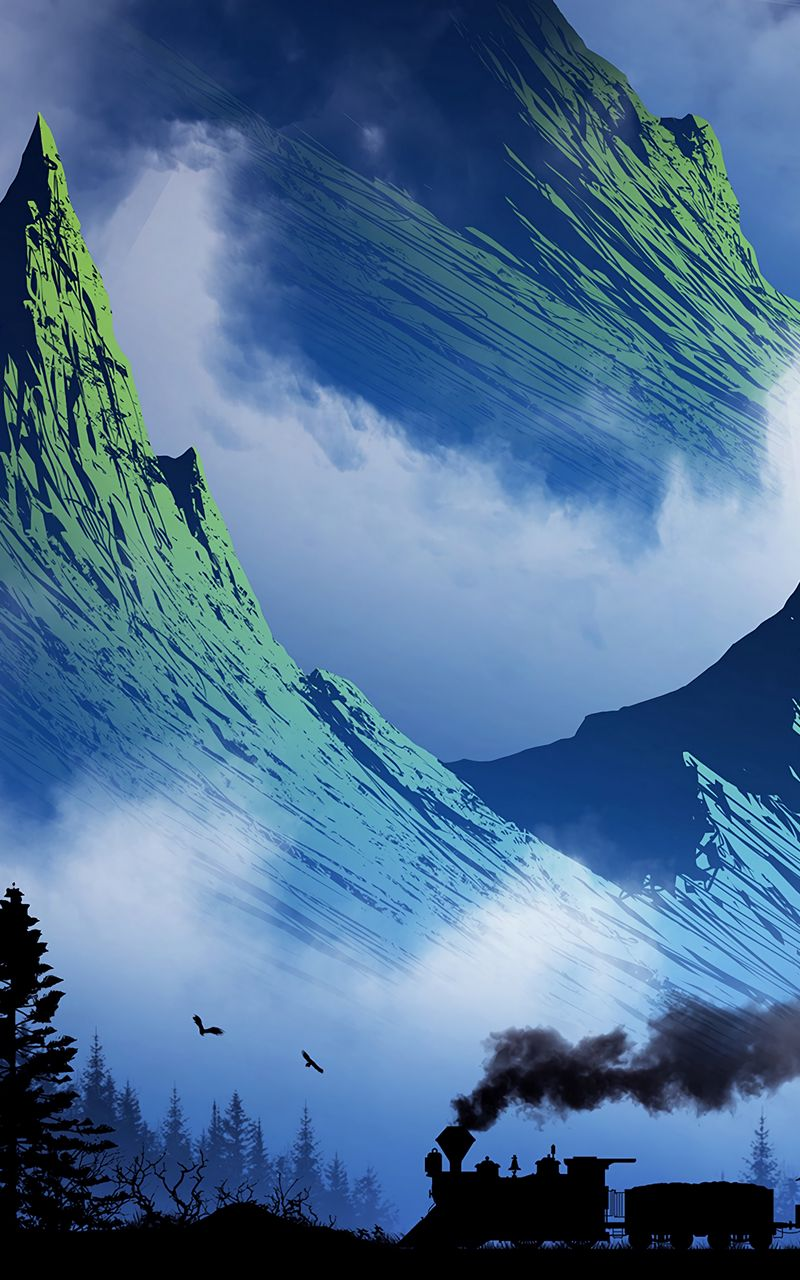 800x1280 Wallpaper train, mountains, art, fog, smoke