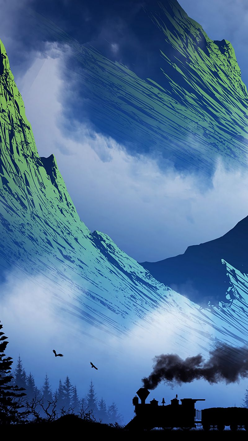800x1420 Wallpaper train, mountains, art, fog, smoke