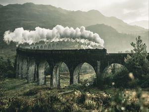 Preview wallpaper train, railway, bridge, mountains, smoke, glenfinnan viaduct, glenfinnan, united kingdom