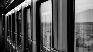 Preview wallpaper train, windows, bw, gray