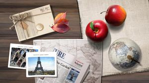 Preview wallpaper travel, apple, drawings, photographs, table