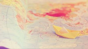 Preview wallpaper travel, map, tenderness, boat