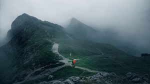 Preview wallpaper traveler, travel, loneliness, alone, mountains, fog