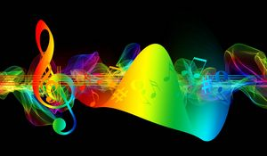 Preview wallpaper treble clef, musical notes, multicolored, rainbow