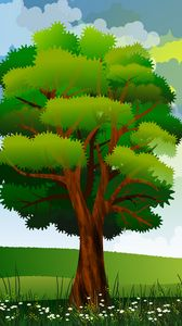Preview wallpaper tree, art, field, flowers, summer
