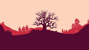 Preview wallpaper tree, vector, art, hill, landscape