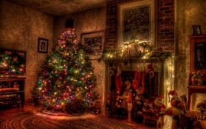 Preview wallpaper tree, christmas, holiday, garland, fireplace, toys, stockings
