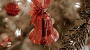 Preview wallpaper tree, decoration, bell, bow, new year, christmas