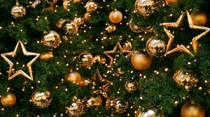 Preview wallpaper tree, decorations, balloons, stars, gold, new year, christmas, holiday