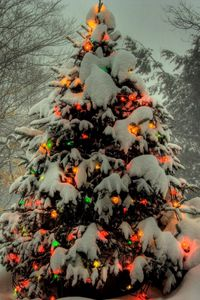 Preview wallpaper tree, garland, new year, christmas, trees, snow, winter, holiday