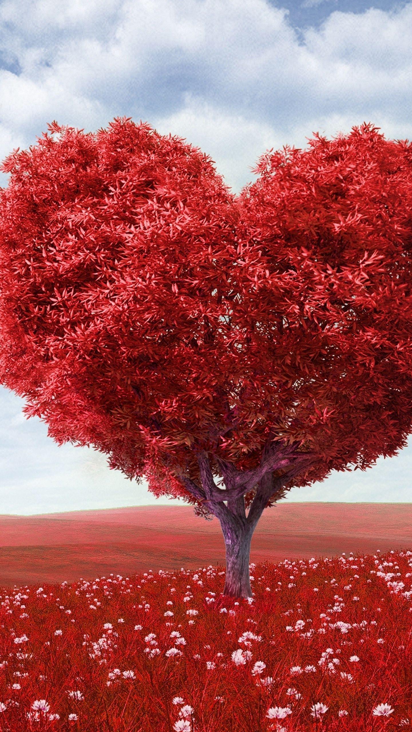 1440x2560 Wallpaper tree, heart, photoshop, field, grass, romance