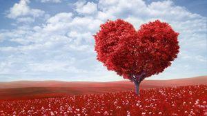 Preview wallpaper tree, heart, photoshop, field, grass, romance