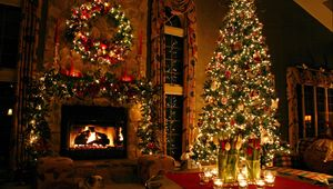 Preview wallpaper tree, house, new year, celebration