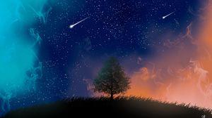 Preview wallpaper tree, night, stars, art, smoke, meteors