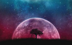 Preview wallpaper tree, planet, stars, galaxy, art