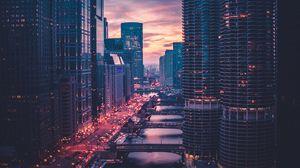 Preview wallpaper chicago, skyscrapers, bridges, evening