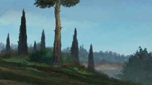 Preview wallpaper trees, hill, landscape, art