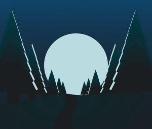 Preview wallpaper trees, moon, night, vector, art