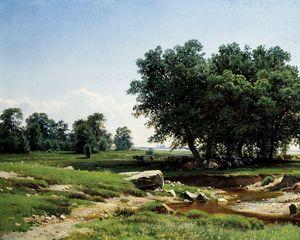 Preview wallpaper trees, nature, grass, sky, art
