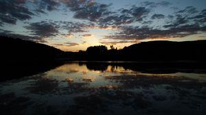 Preview wallpaper trees, silhouettes, lake, reflection, landscape, dark