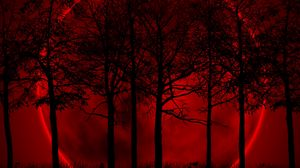 Preview wallpaper trees, sky, eclipse, night, blood