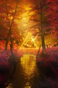 Preview wallpaper trees, water, bubbles, triangle, neon, light, 3d
