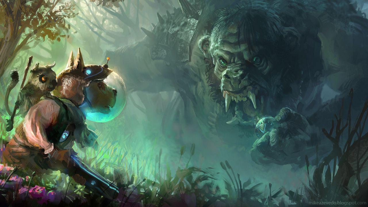 Wallpaper troll, dog, art, forest