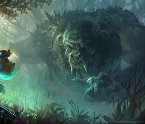 Preview wallpaper troll, dog, art, forest