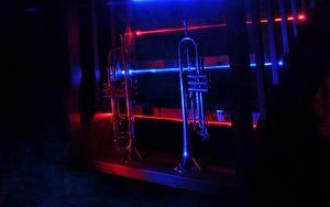 Preview wallpaper trumpet, music, stairway, neon, backlight, smoke