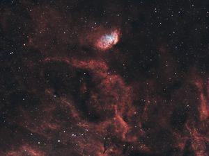 Preview wallpaper tulip nebula, nebula, glow, stars, space, red