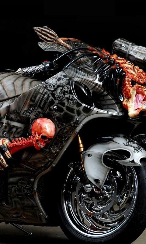 480x800 Wallpaper tuning, sport bike, airbrush, design