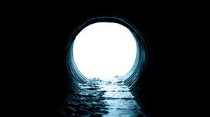 Preview wallpaper tunnel, pipe, water, light, dark