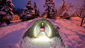 Preview wallpaper tunnel, pipe, winter, snow, light
