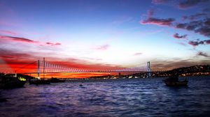Preview wallpaper turkey, sea, bridge, night, lights city