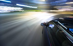 Preview wallpaper turn, car, motion blur, night