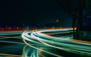 Preview wallpaper turn, light, road, night