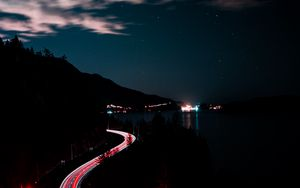 Preview wallpaper turn, night, mountains, sky, road