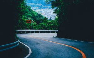 Preview wallpaper turn, road, mountains, trees, marking