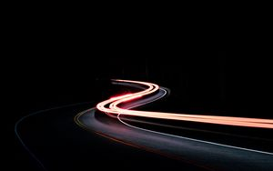 Preview wallpaper turn, road, night, light