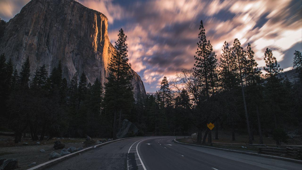 Wallpaper turn, trees, rocks