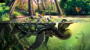 Preview wallpaper turtle, butterflies, art, water, underwater