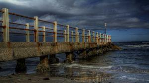 Preview wallpaper twilight, bridge, beach, landscape