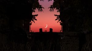 Preview wallpaper twilight, dark, moon, sky, branches