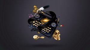 Preview wallpaper typewriter, skull, witch, snake, ink