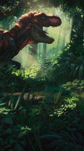 Preview wallpaper tyrannosaurus, dinosaur, jungle, forest, art