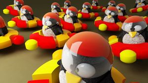 Preview wallpaper ubuntu, logo, penguins, brand, hi-tech