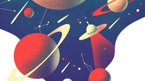 Preview wallpaper ufo, planets, space, black hole
